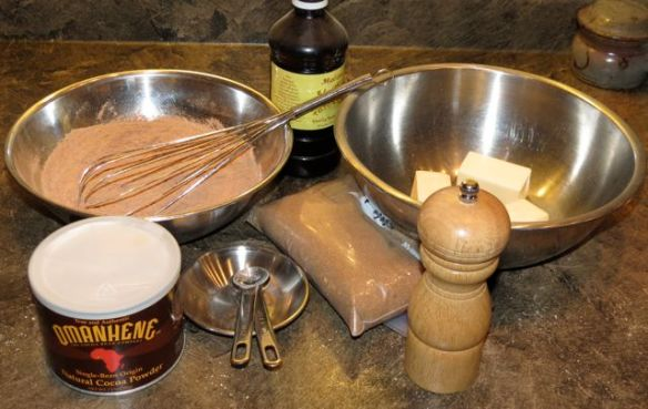 Cocoa, butter, pepper vanilla, flour