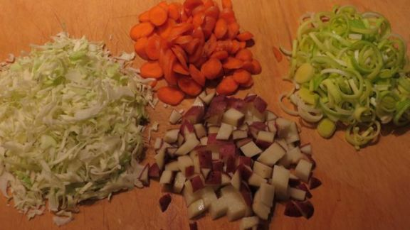 cabbage, carrots, leeks, potatoes