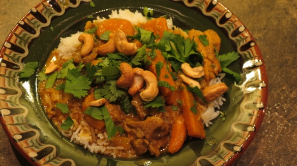 Coconut Chicken Curry with Sweet Potatoes and Cashews