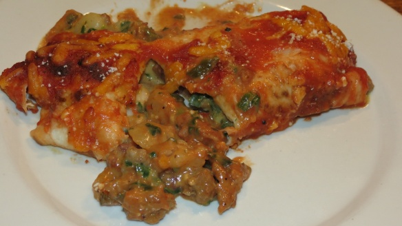 Chorizo Enchilada with Chard and Potato