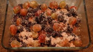 Sugared berries waiting for their crumble topping