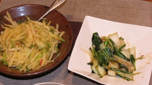 Left, Vinegared Slivered Potatoes Right, Bok Choi with Oyster Sauce