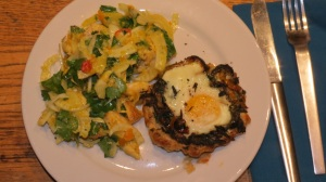 Saffron Chicken & Herb Salad with Pepper and Baked Egg Galettes