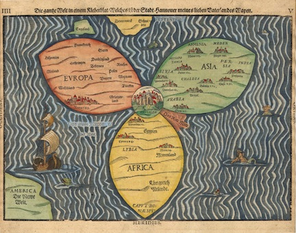 Stylized world map by Henry Bunting, 1581