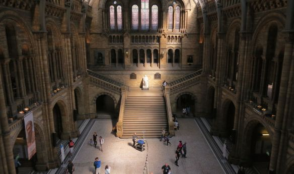 The Great Hall (opposite end). Statue of Darwin