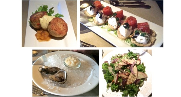 row 1: crab cakes, gravlax row 2: raw oysters, mixed seasonal greens