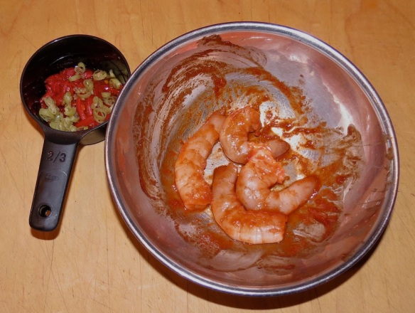 Chopped peppers, Shrimp in Koran chili sauce