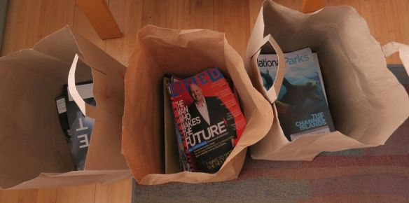 Three of five bags of magazines that went to recycle