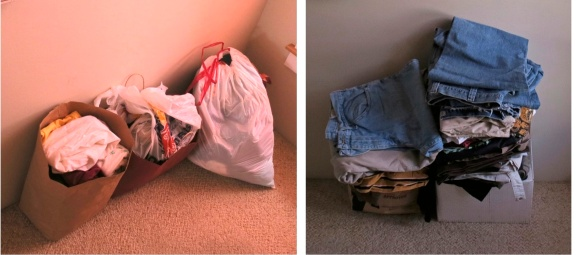 Left: Bags of tops, shirts, etc. Right: pants