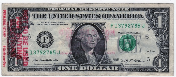 USD 1$ bill with stamp