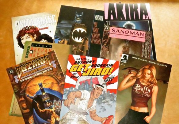Old and new, here are some I enjoy. Anita Blake: Vampire Hunter, The Dark Knight Returns ( Frank Miller), Akira, Sandman (Neil Gaiman), Buffy the Vampire Slayer, Get Jiro, Batman: The last Angel and Batman: Arkham Asylum.