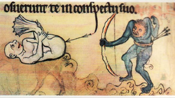 Medieval Marginalia. Probably depicting 14th century physical therapy for knee extension and bend.
