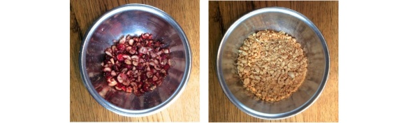 Coarsely chopped cranberries and nuts